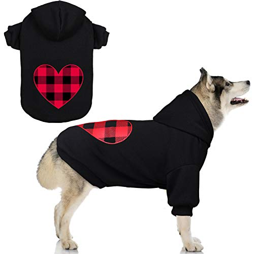Stpiatue Dog Hoodie Sweater Sweater for Dogs Pet Clothes Black Buffalo Plaid Warm and Soft Breathable Cozy(XXL)