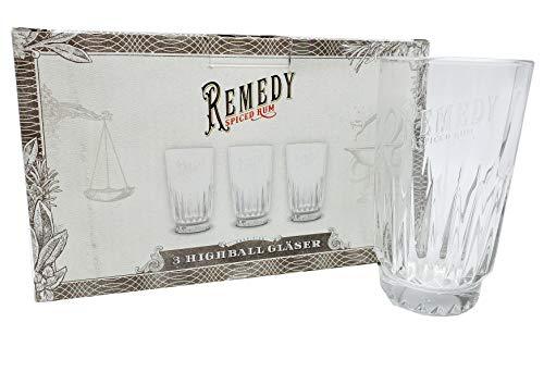 XXL-Drinks.de Rum glazen - 3-delige set van Remedy Rum - voor longdrinks & cocktails - zeer stabiel