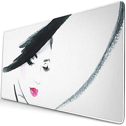 Gaming Extended Mouse Pads mit Rutschfester Gummibasis Beauty Schönes Gesicht Frau Porträt Hut Abstrakte Aquarell Make-up 30X80 cm