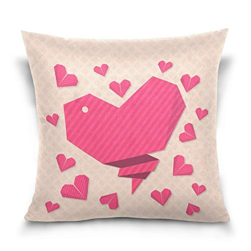 Krystal_Magic Pillow Case,Beautiful Origami Hearts Decorative Square Throw Pillow Case Cushion Cover for Sofa Bedroom Car Double-Sided Design 18 x 18 inch