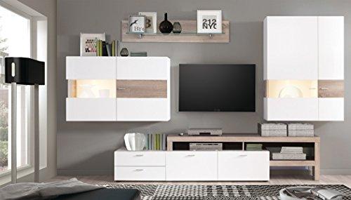 Wohnwand Monty 351x207x47 cm weiß Hochglanz Eiche Trüffel Schrankwand Wohnzimmerschrank Vitrine Wandschrank Wandboard TV-Board LED-Beleuchtung