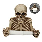 wweenuo Skull Toilet Paper Holder Retro, Halloween Decorations Wall Mount Toilet Tissue Paper Roll Storage Holder Stand Gothic Bathroom Accessory (Color)