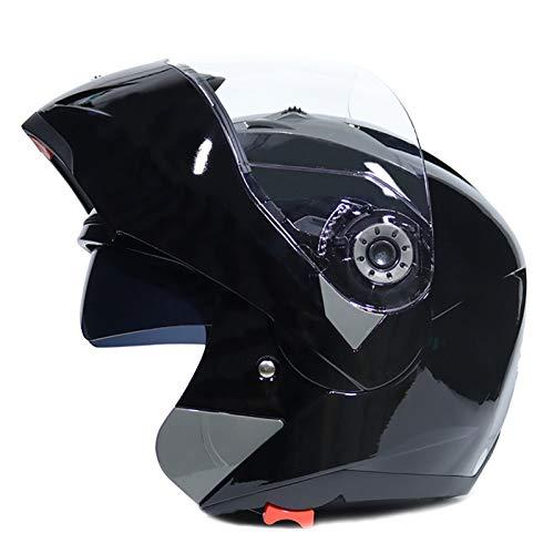 Casco De Moto De Cara Completa Abatible con Doble Visera En Blanco Brillante Dot/ECE Casco De Moto Ligero Antivaho con Doble Visera Certificado para Adultos Jóvenes Hombres Mujeres