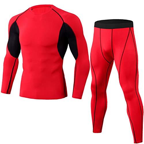 GUOCU Hombre Conjunto Aptitud Camiseta De Manga Larga Y Pantalones De Running Secado Rápido Chándal De Hombres Casual Ropa Deportiva ,Rojo,XXL
