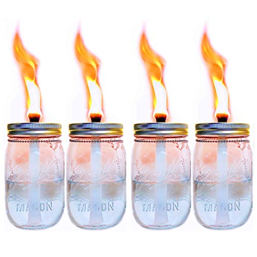 4 Pack Glass 16oz Mason Jar Tabletop Torch,Outdoor Oil Lamp Torch,Patio Garden Party Wedding Mason Jar Table Decor Torch Lights
