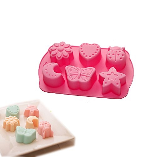 X-Haibei Pasta Maker Mold Soap Jello DIY Crayon Melt Mould Star Butterfly Moon Beetle Heart Flower Silicone Mold 2oz per cell