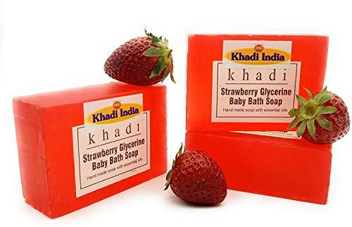 Glamorous Hub Khadi India - Jabón de baño para bebé hecho a mano con glicerina de fresa, 125 g (paquete de 3) (el embalaje puede variar)