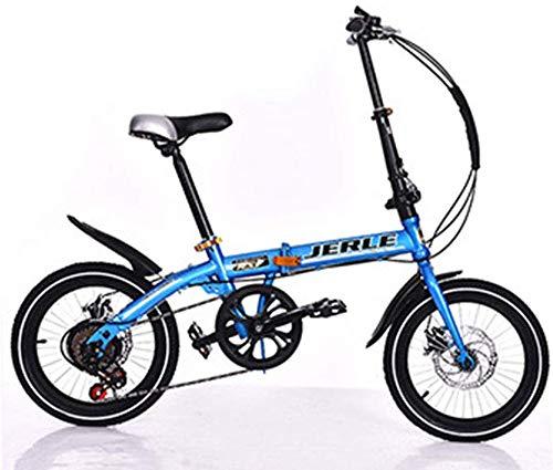Pkfinrd Bicicletta Pieghevole Pieghevole auto-14 Pollici 16 Pollici Freno a Disco velocità Bici Adulta Bambini Biciclette Studente Bicicletta, Bianco, 14inchshift (Color : Blue, Size : 14inchshift)
