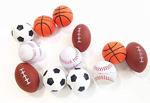 Squeezable Stress Balls 12 Pack Sports Foam Balls Baseball, Basketball, Soccer, Football- Relaxation Gadgets, Fidget Toys, Party Favors,