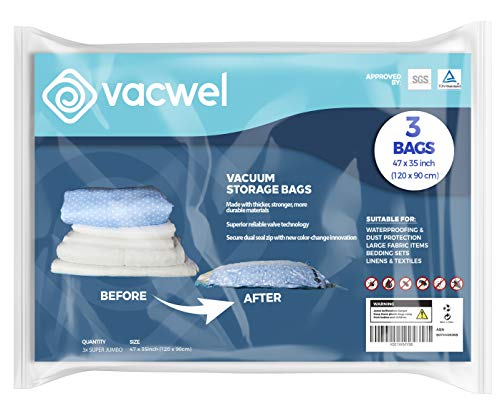 "Jumbo XXL Vacuum Storage Bags, 47 x 35"" Space Saver Bags for Clothes, Comforters or a Mattress Topper, Thick & Strong XXL Size (3 XXXL bag pack)"