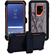 AlphaCell Cover Compatible with Samsung Galaxy S9 Plus (Only) | Holster Case Series | Military Grade Protection with Carrying Belt Clip | Protective Drop-Proof Shock-Proof | Orange/Camouflage