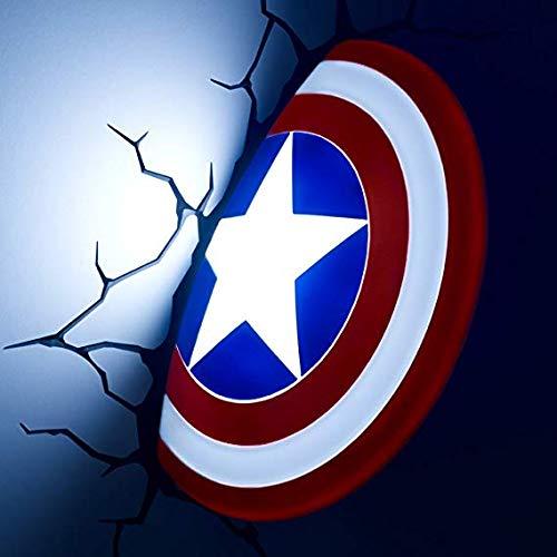 Wall lamp Luz De Pared 3D Marvel Capitán América Escudo Avengers 4 Novedad Lámpara De Pared Luces Nocturnas