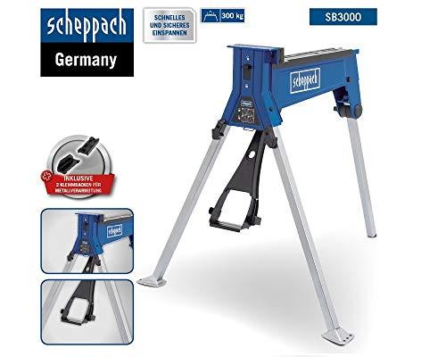 Scheppach Spannbock SB3000 300kg + 2 Klemmbacken, mit Fußpedal, Arbeitshöhe 860 mm, max. Traglast 300 kg