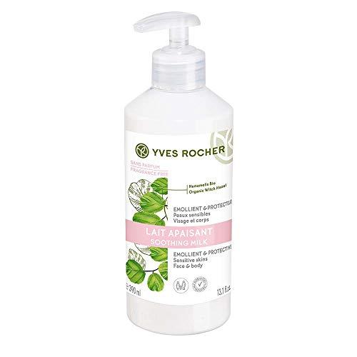 Yves Rocher Cuidado de las plantas del cuerpo, leche de cuidado de hamamelis, calma y hidrata inmediatamente la piel sensible, 1 botella de bombeo de 390 ml