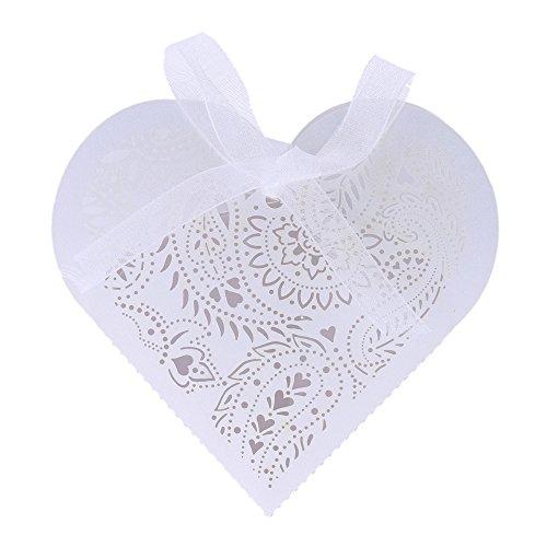 ANSELF - Scatole per Confetti Matrimonio a Forma di Romantico Cuore con Nastro - 20 Pezzi