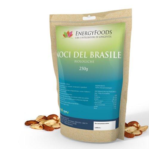 Noci del Brasile / Sgusciate, Crude e 100% Biologiche Vegane e Senza Glutine - Brazil Nuts /Shelled, raw and 100% Organic, Vegan and Gluten Free - 250 g
