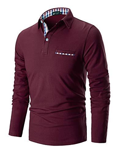 STTLZMC Poloshirt Herren Langarm Basic T-Shirt Freizeit Plaid spleißen Polohemd,Rot,3XL