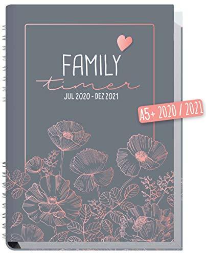 Family-Timer 2020/2021 A5 [Poppy] Familien-Kalender 18 Monate: Juli 20 - Dezember 21 | Familien-Planer für bis zu 4 Personen + viele hilfreiche Features | nachhaltig & klimaneutral