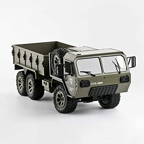Weaston Camión Militar Americano De Simulación 6WD, Coche Eléctrico De Control Remoto De 2,4 G, Camión RC De Carga para Pasatiempos Todoterreno, Vehículo RC con Neumático De Repuesto, para Niños