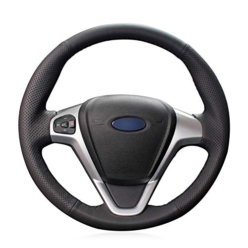 LYSHUI Cubierta de Cuero Negro para Volante de Coche, para Ford Fiesta Ecosport B-MAX Ka (Ka +) Tour