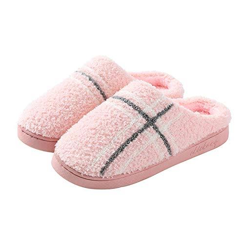 Nwarmsouth Calido Zapatillas Memory Foam,Zapatos de Invierno de algodón a Rayas, Pantuflas cálidas para el Piso-Pink_43-44,Zapatillas de Paseo para Hombre