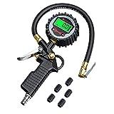 Manometro Presion Neumaticos, Neoteck Manómetro Digital 200 PSI Con Pantalla LCD 3 en 1 Medidor de Presión Neumáticos con Pilas y 5 Tapas de Válvula de Plástico Negras para Automóvil,Moto y Bicicleta