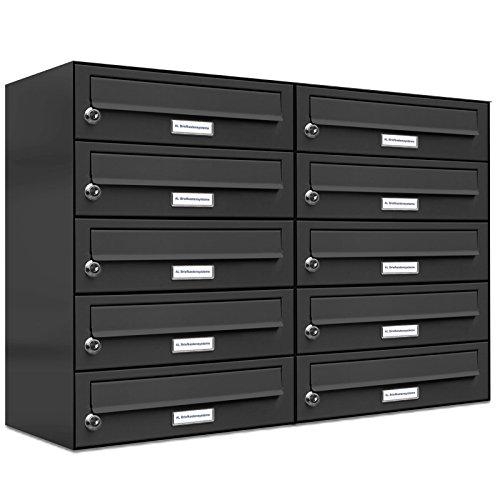AL Briefkastensysteme 10er Briefkasten als Aufputzbriefkasten, 10 Fach Briefkastenanlage in Anthrazitgrau RAL 7016 Postkasten modern