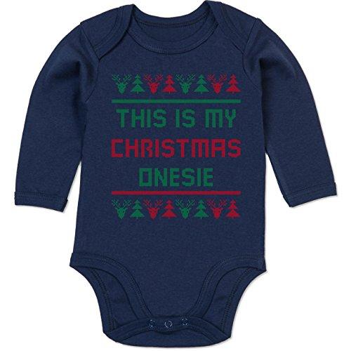 Shirtracer Strampler Motive - This is My Christmas Onesie - 6/12 Monate - Navy Blau - Norwegermuster - BZ30 - Baby Body Langarm