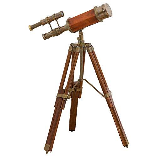 aubaho Doppel-Teleskop mit Holz-Stativ Fernrohr Fernglas Messing Antik-Stil