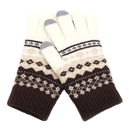 NIUQY - Guantes para mujer y niña, cálidos, lana, bohemio, felpa, suave, chic, elástico, mezcla de Navidad, bonito blanco Talla única