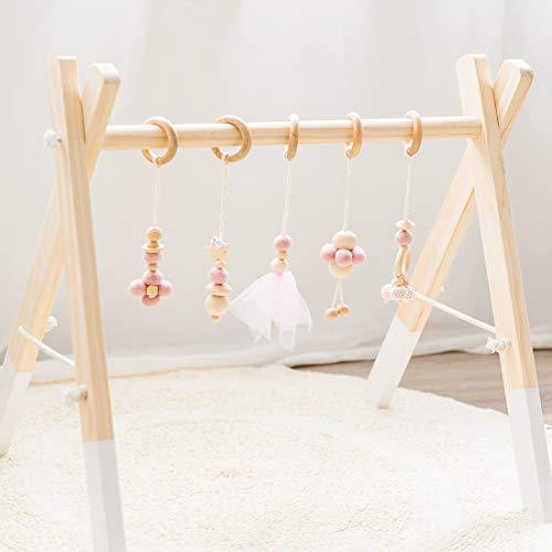 Mamimami Home Baby Wood Gym, Wood Play Gym avec 5 Jouets de Dentition en Bois Cadre D'activité pour Gymnase Barre de Suspension Cadeau de Naissance (Rose)