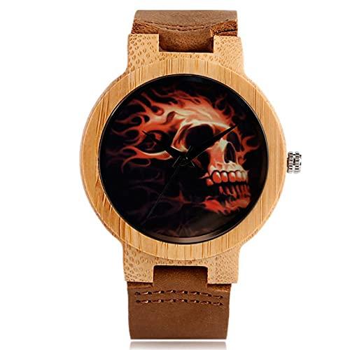 GIPOTIL Punk Fashion Skull Display Dial Redondo Madera Natural Hombres Relojes Movimiento de CuarzoReloj de bambú de Cuero, b