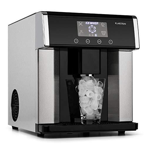 Klarstein Eiszeit Eiswürfelmaschine - 3 Eiswürfelgrößen, 10-15 kg/24h, LCD-Display, Wassertankkapazität: 3 Liter, Eiskapazität: 600 g, Alarmfunktion, Gehäuse aus gebürstetem Edelstahl, grausilber