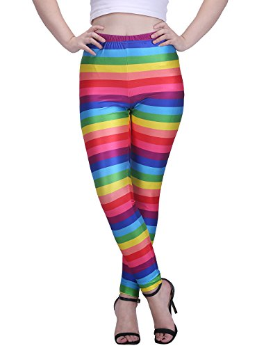 Bright Colorful Novelty Pattern Printed Leggings Rainbow Graphic Print XX-Large
