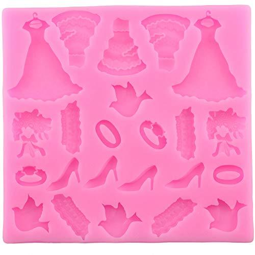 ANGYANG Forma do pieczenia suknia ślubna silikonowe formy kremówka ciasto dekorowanie narzędzia pierścień bukiet czekolada cukierki żelowe formy