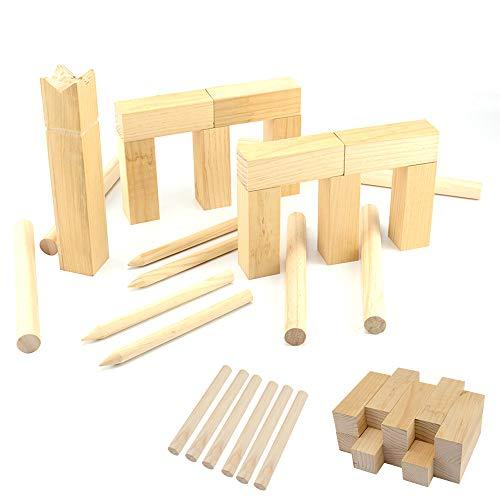 KingSaid Original Wikingerspiel Kubb Holzspiel Outdoor Wurfspiel Wikinger Holz Schach Bauernkegeln