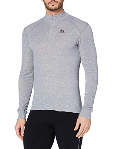 Odlo BL Top Turtle Neck l/s Half Zip Active Warm Haut Homme, Grey Melange, FR (Taille Fabricant : 3XL)