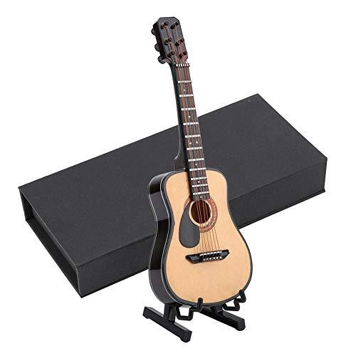 Modelo de Guitarra de Madera En Miniatura Modelo de Casa de Muñecas Exhibición de Instrumentos Musicales Con Soporte y Estuche Accesorios de Casa de Muñecas Adornos de Artesanía Pequeña(#02)