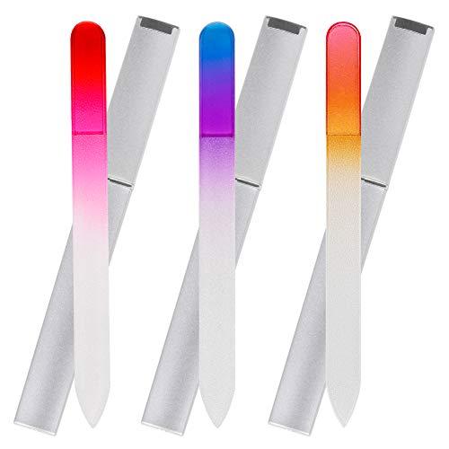 JessLab 3pcs Lima de Uñas Cristal Set, Doble Cara Limas de Uñas...