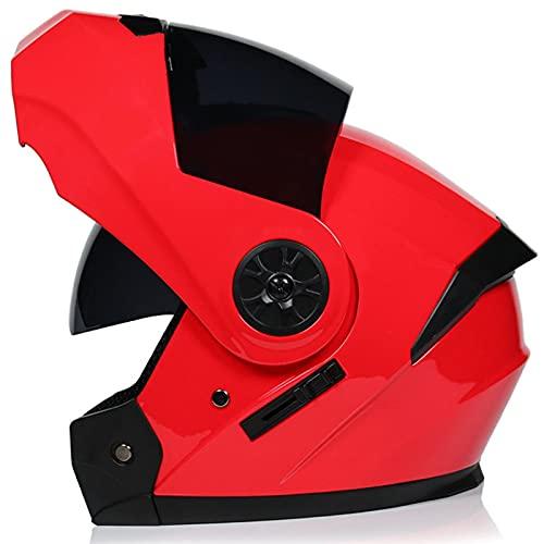 Balscw Cascos de Moto Abatibles Cascos de Moto Visera Tintada para Hombre Cascos de Protección para Motos Cascos Motocicleta Casco Integral Modular Motocicleta,Red-XL