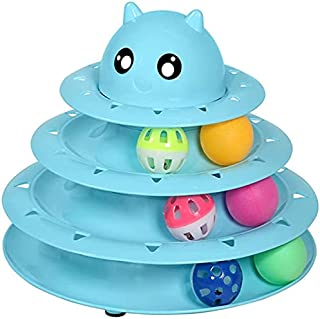 Circular Turntable Cat Toys: Cat Tower with Rolling Balls on Three Tracks - Interactive Ball Gym and Puzzle for Indoor Cat...