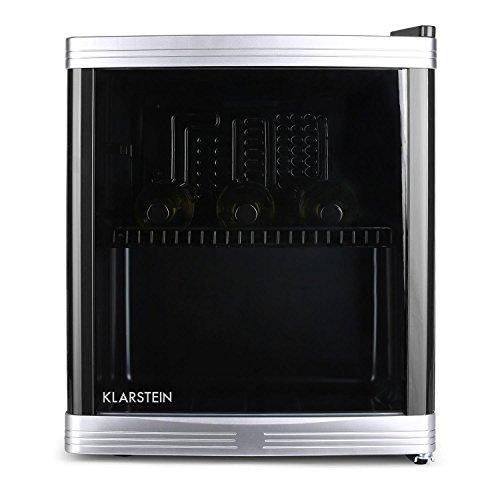Klarstein - beerlocker, minibar, frigo bar per bevande, B, 46 L, 43 x 50 x 48 cm (LxLxP), silenzioso, stop per lo sportello intercambiabile, regolatore della temperatura su 5 livelli, nero