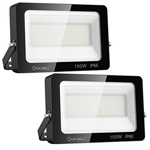 Onforu 2 Pack 100W LED Flood Light, Super Bright 11000lm Security Lights, IP66 Waterproof Flood...
