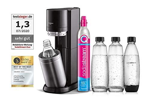SodaStream Wassersprudler DUO mit CO2-Zylinder, 2x 1L Glasflasche und 2x 1L spülmaschinenfeste Kunststoff-Flasche, Höhe: 44cm, Farbe: Titan