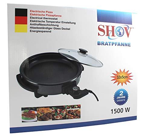 Shov Elektrische Pfanne Ø 32/5cm Pizzapfanne Partypfanne Elektropfanne Bratpfanne