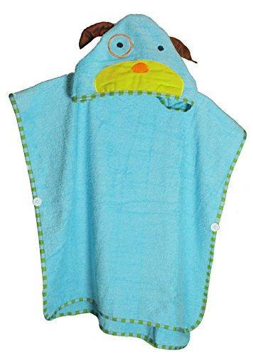 Schlupfi Badeponcho Kinder: Kinderhandtuch mit Kapuze - Handtuch Poncho mit Tiermotiv, Kapuzenhandtuch für Jungen und Mädchen, Hund in Türkis, 60x120cm