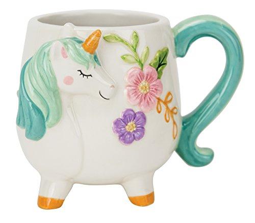 Boston Warehouse Mug, Turquoise Unicorn Collection, 18oz Capacity, Hand Painted Ceramic