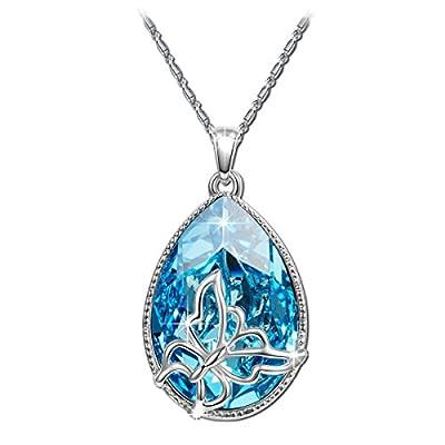 BRILLA Swarovski Elements Crsstal Fashion Necklace Pendants Jewelry for Women (Butterfly/Heart Of The Ocean/Wishing Trees/Lucky Trefoil)