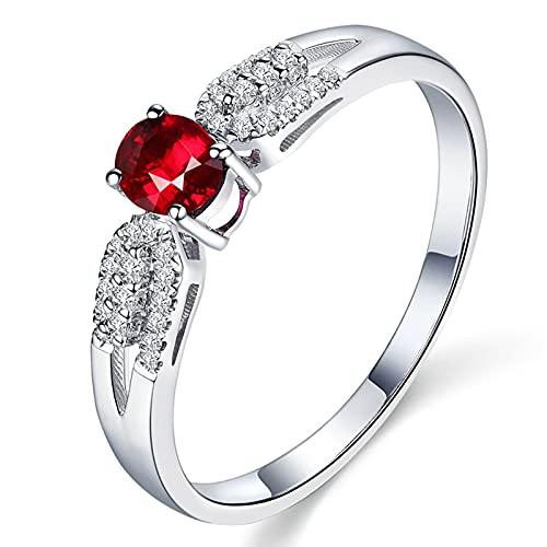 Amody Anillo de Oro Blanco 18K de Mujer, Anillos Mujer Compromiso 0.36ct Redonda Paloma Rojo Sangre Rubí con Diamante Tamaño 25