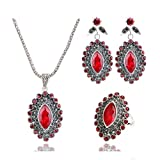 Yazilind Bohemian Jewelry Set Braut Hochzeit Zubehör Augenförmige Edelstein Anhänger Halskette Ohrringe Ring 3 Stück Sets Rot 20.1